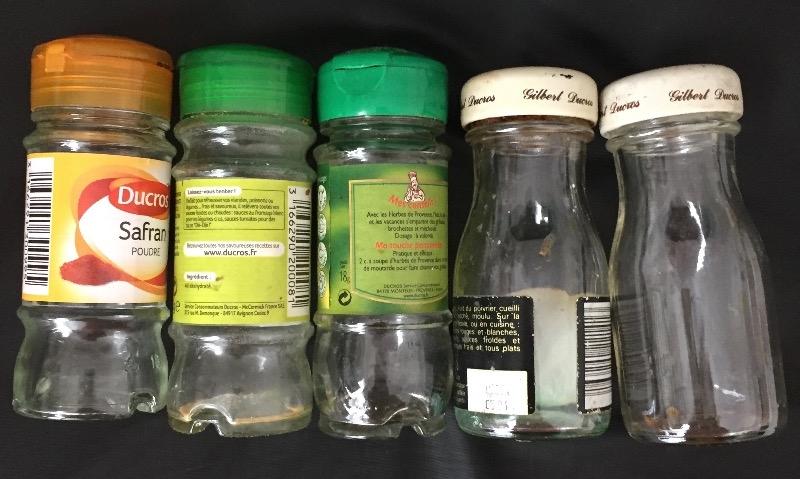 Recyclage, Récupe & Don d'objet : 5 pots à épices vides