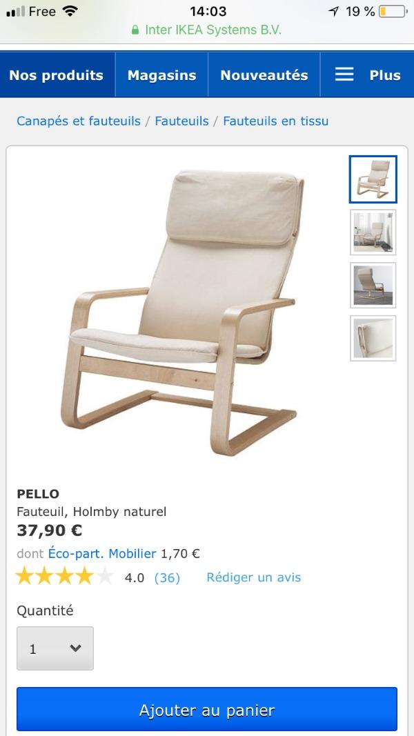 Recyclage, Récupe & Don d'objet : fauteuil tissu ikea