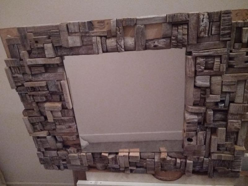 Recyclage, Récupe & Don d'objet : miroir en bois flotté fabrication artisanale
