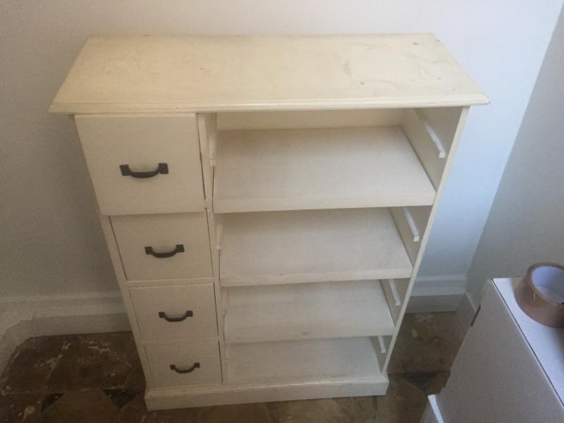 Recyclage, Récupe & Don d'objet : console à tiroirs et étagères