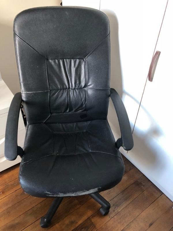 Recyclage, Récupe & Don d'objet : fauteuil de bureau en cuir