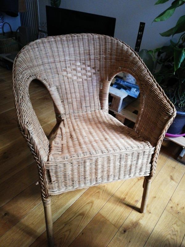 Recyclage, Récupe & Don d'objet : chaise en rotin à réparer