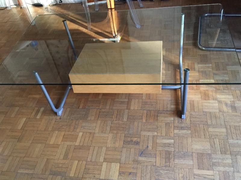 Recyclage, Récupe & Don d'objet : table de salon ikéa plateau verre l130xp70xh43