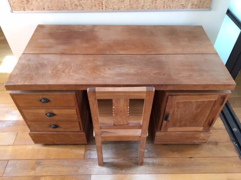 Recyclage, Récupe & Don d'objet : bureau et chaise en teck