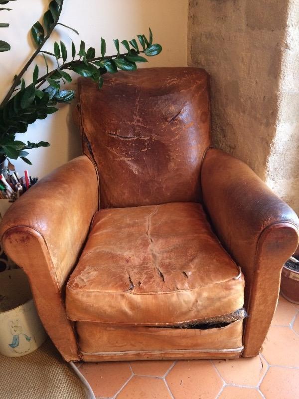 Recyclage, Récupe & Don d'objet : fauteuil club cuir