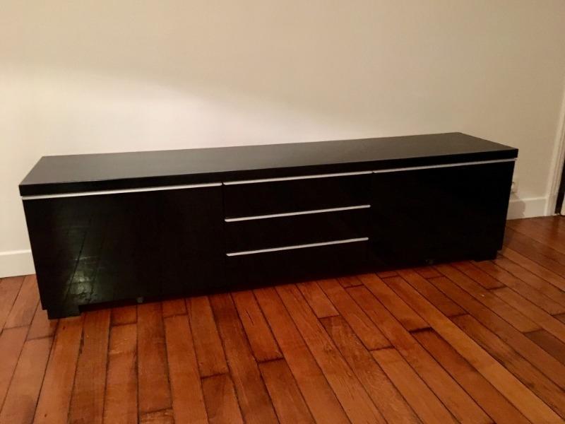 Recyclage, Récupe & Don d'objet : meuble télé ikea besta burs noir