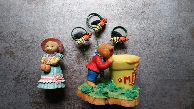 Recyclage, Récupe & Don d'objet : 2 statuettes ours avec un pour porte photo