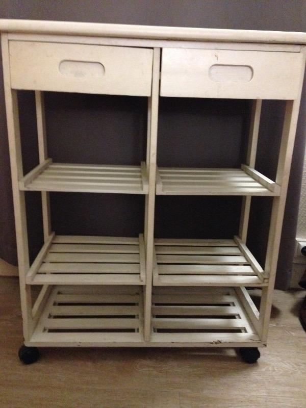 Recyclage, Récupe & Don d'objet : meuble de cuisine à roulettes