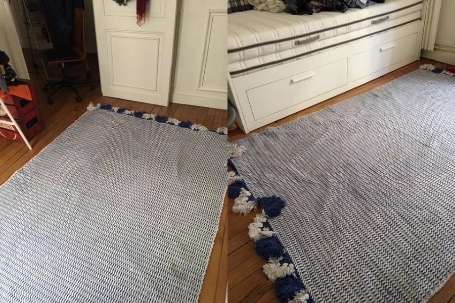 Recyclage, Récupe & Don d'objet : tapisserie indienne, bleu-blanc