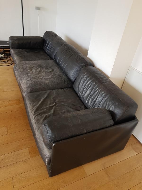 Recyclage, Récupe & Don d'objet : canapé 3 places cuir noir usé 270 cm