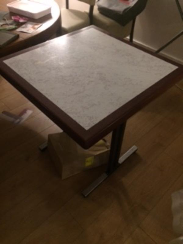 Recyclage, Récupe & Don d'objet : table carrée de bistrot