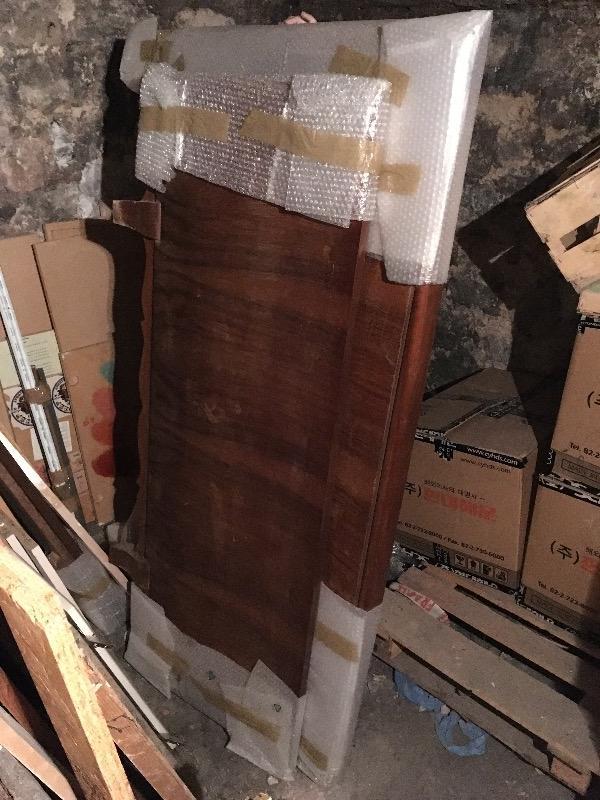 Recyclage, Récupe & Don d'objet : lit double ancien bois plaqué et massif
