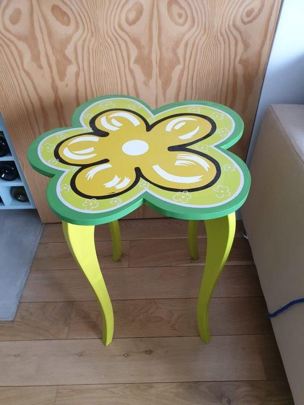 Recyclage, Récupe & Don d'objet : guéridon fleur vert
