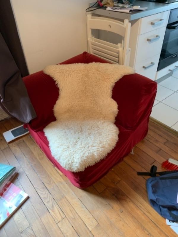 Recyclage, Récupe & Don d'objet : fauteuil pouf rouge