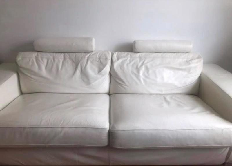 Recyclage, Récupe & Don d'objet : canapé convertible cuir blanc 3/4 places