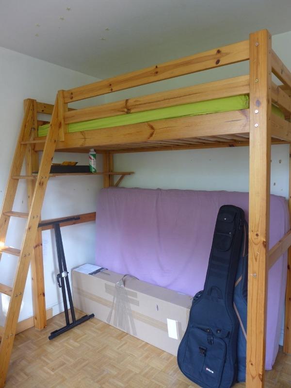Recyclage, Récupe & Don d'objet : lit mezzanine 1 place sobre bois blanc