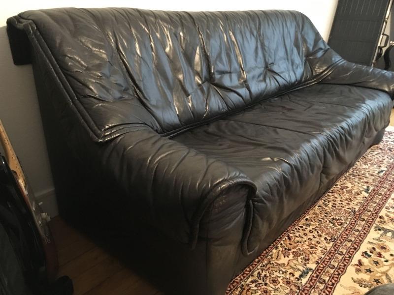 Recyclage, Récupe & Don d'objet : canapé cuir noir 3 places