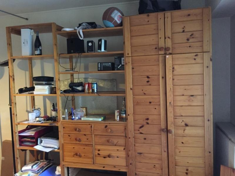 Recyclage, Récupe & Don d'objet : meuble en bois penderie/étagères/tiroirs
