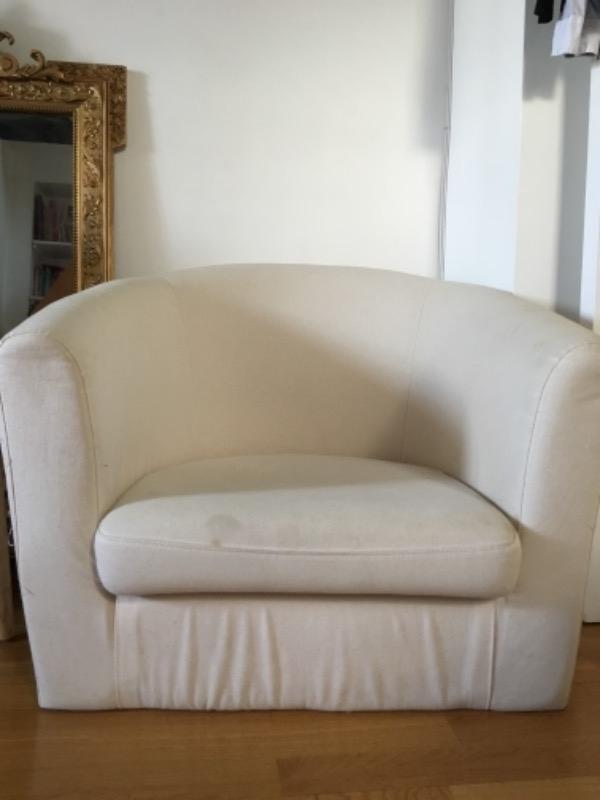Recyclage, Récupe & Don d'objet : fauteuil écru ikea - vieux