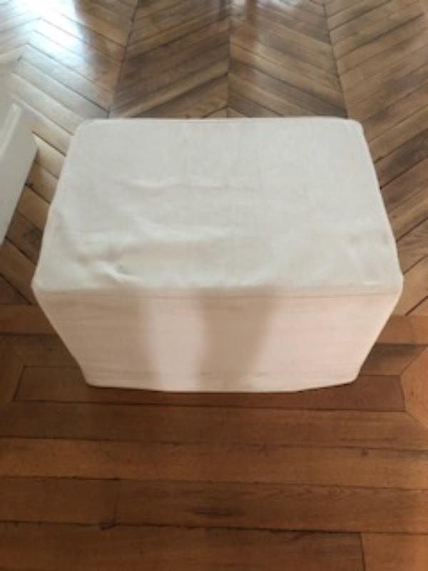 Recyclage, Récupe & Don d'objet : pouf carré blanc