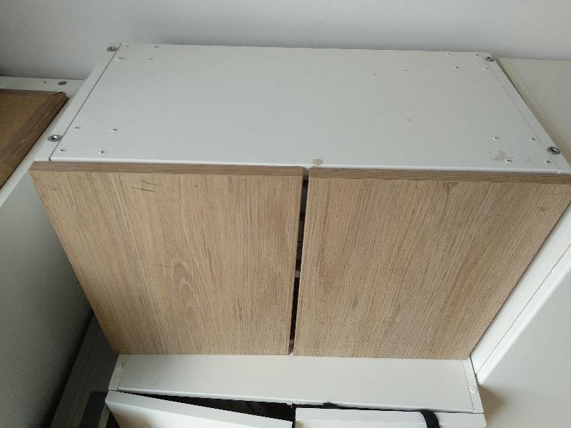 Recyclage, Récupe & Don d'objet : caisson 60x40x30 blanc, porte couleur bois