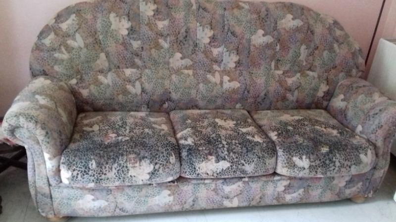 Recyclage, Récupe & Don d'objet : canapé-lit +2 fauteuils tissu imprimé