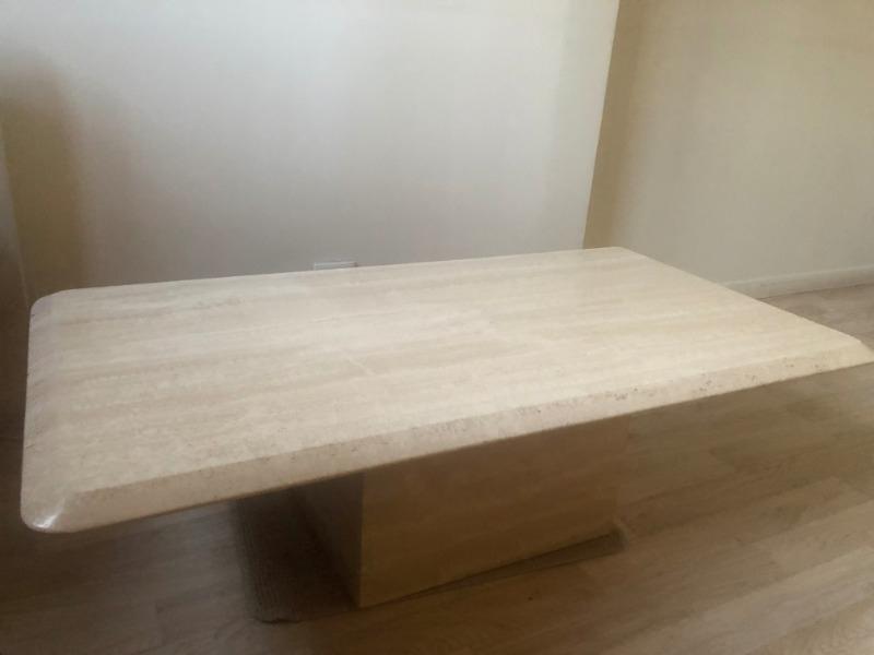 Recyclage, Récupe & Don d'objet : table basse en travertin