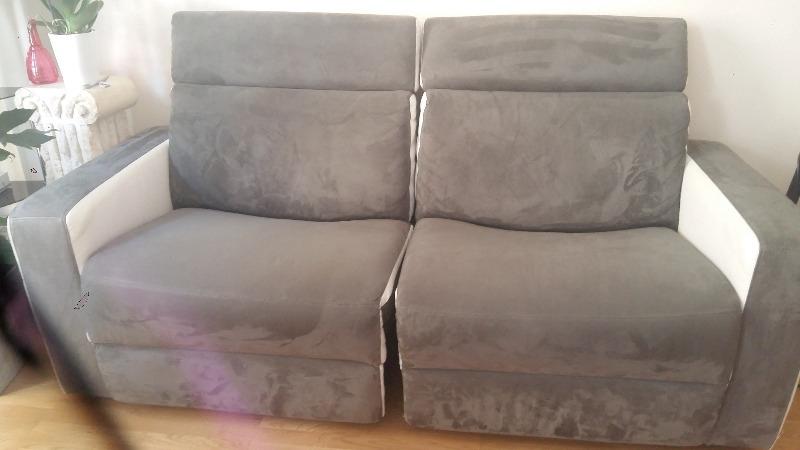 Recyclage, Récupe & Don d'objet : canapé 3 places gris et blanc