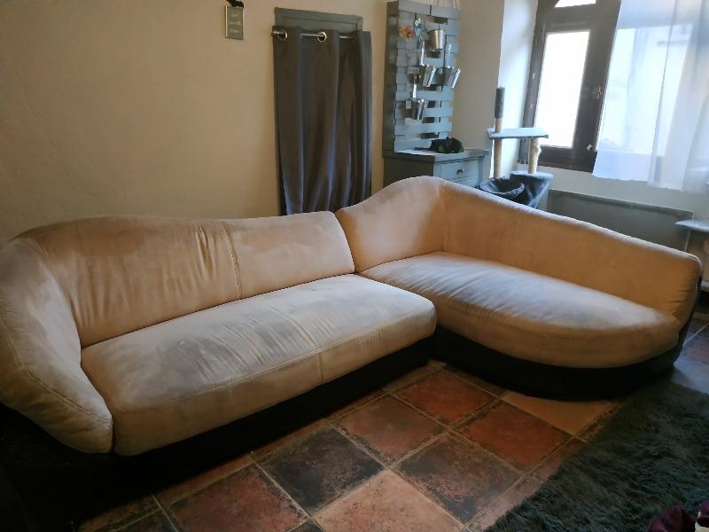 Recyclage, Récupe & Don d'objet : canapé d'angle beige bon état