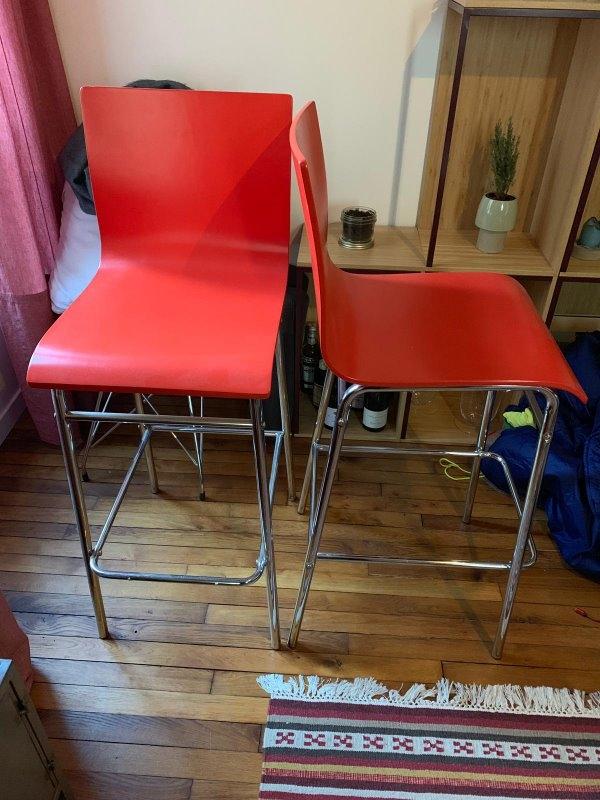 Recyclage, Récupe & Don d'objet : lot de 2 chaises de bar