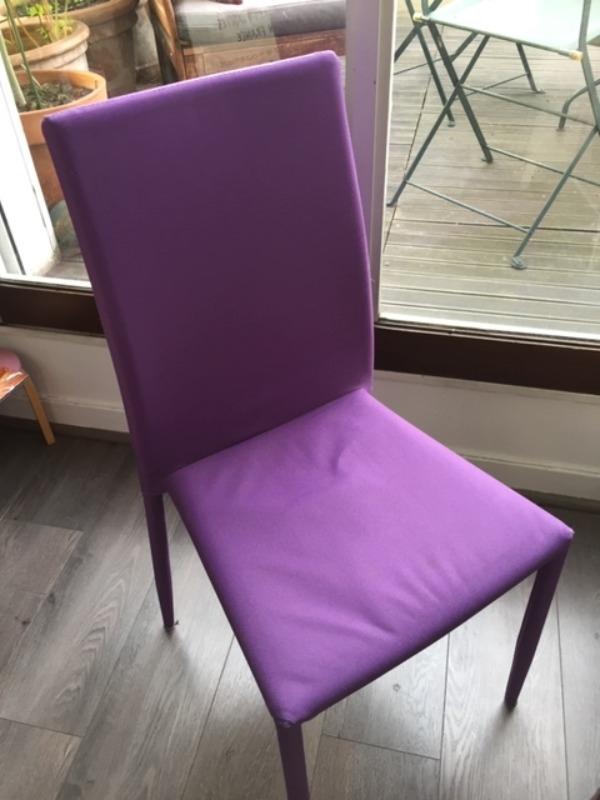 Recyclage, Récupe & Don d'objet : 4 chaises tissus violet - salle a manger