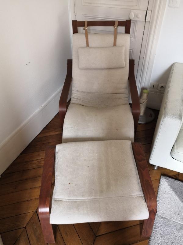 Recyclage, Récupe & Don d'objet : fauteuil avec repose pied ikea