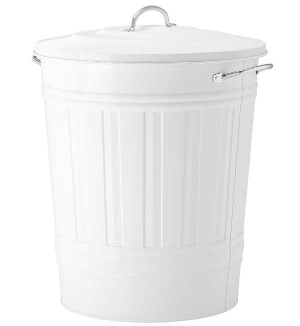 Recyclage, Récupe & Don d'objet : poubelle avec couvercle, blanc, 40 litres