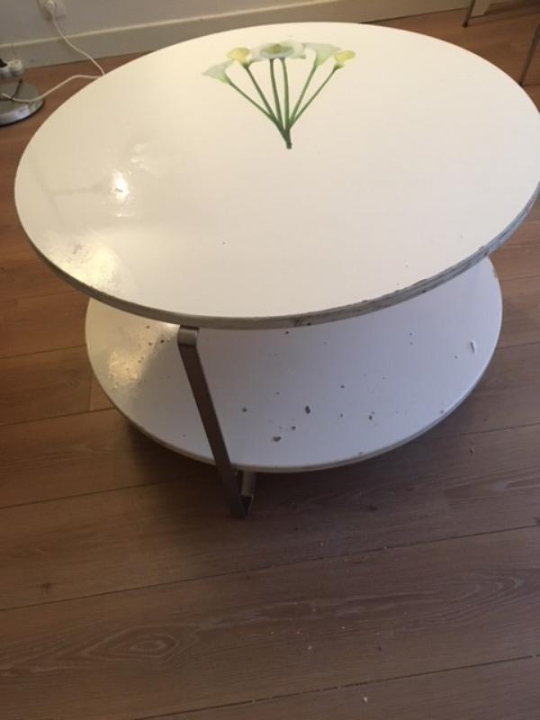 Recyclage, Récupe & Don d'objet : table basse ronde 2 plateaux
