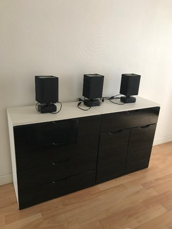 Recyclage, Récupe & Don d'objet : 3 petites lampes noires (avec ampoules)
