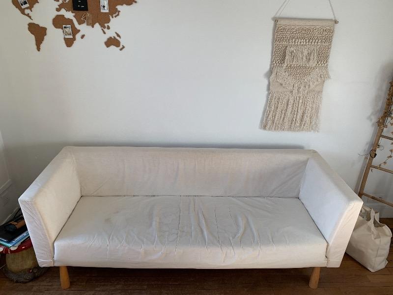 Recyclage, Récupe & Don d'objet : canapé blanc 3 places