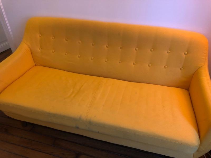 Recyclage, Récupe & Don d'objet : canapé miliboo jaune
