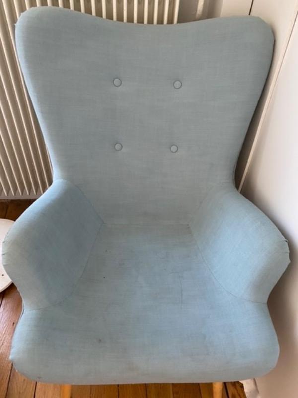 Recyclage, Récupe & Don d'objet : fauteuil + repose-pieds assortis