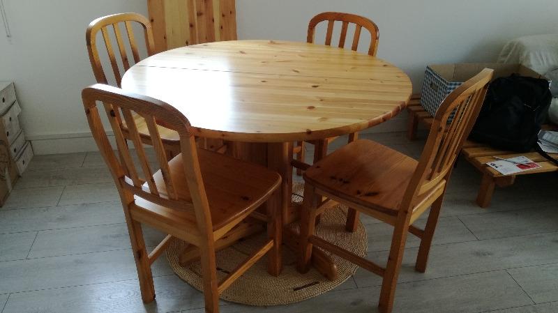 Recyclage, Récupe & Don d'objet : table ronde+chaises+rallonge