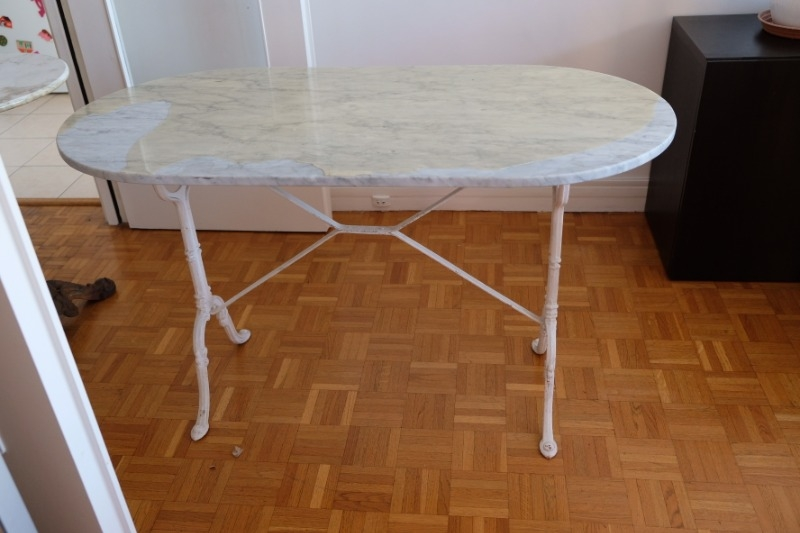 Recyclage, Récupe & Don d'objet : table en marbre ovale 60x120 cm