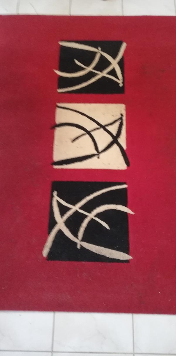 Recyclage, Récupe & Don d'objet : tapis salon design rouge noir beige 120*17...