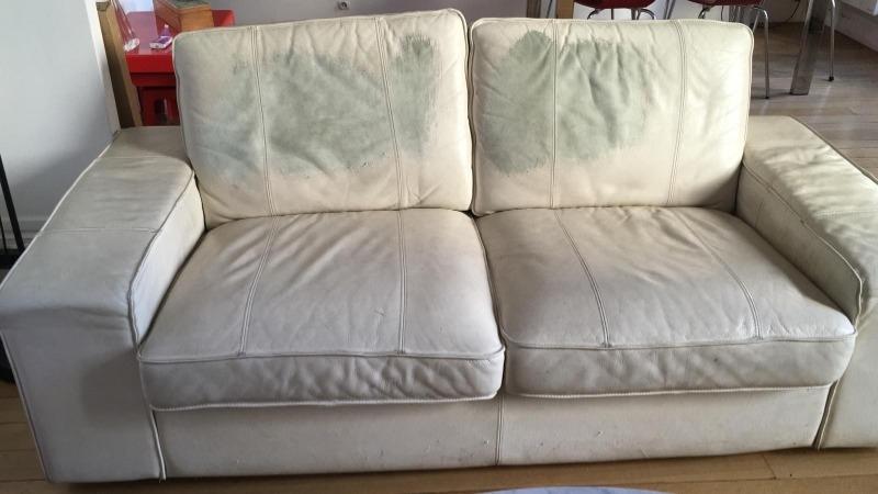 Recyclage, Récupe & Don d'objet : canapé en cuir blanc