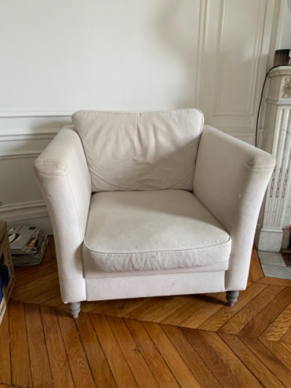 Recyclage, Récupe & Don d'objet : fauteuil la redoute blanc / beige