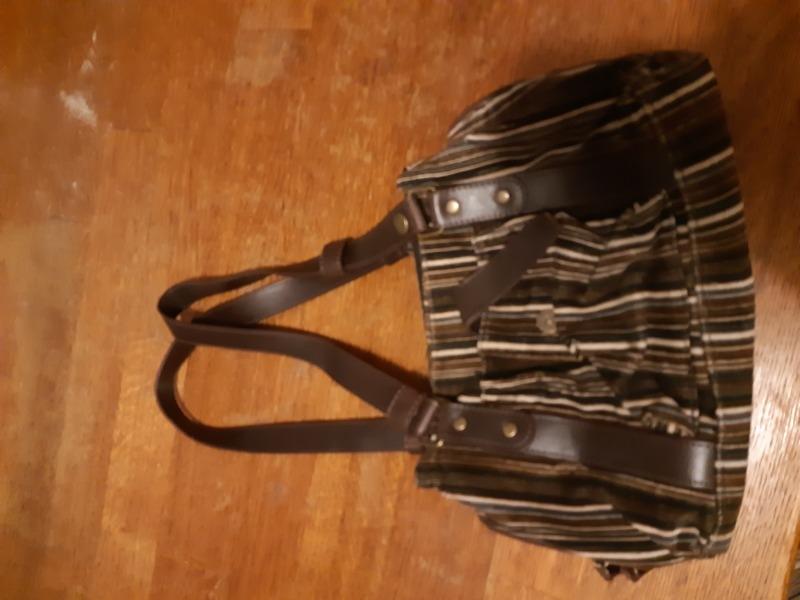 Recyclage, Récupe & Don d'objet : sac à main marron rayé en tissu