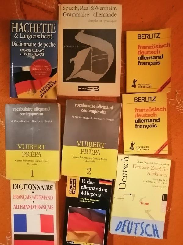 Recyclage, Récupe & Don d'objet : lot de manuels-dictionnaires d'allemand