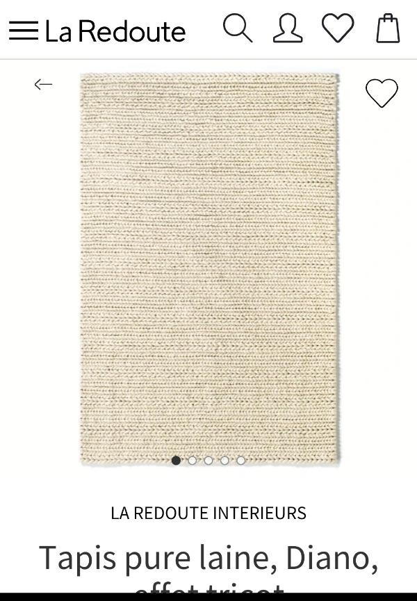 Recyclage, Récupe & Don d'objet : Tapis tricot beige la redoute 230x160cm