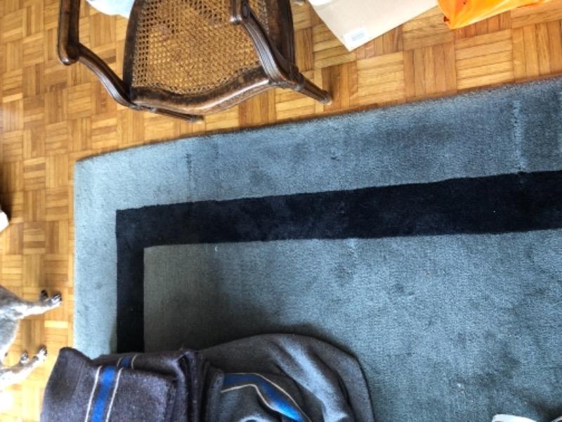 Recyclage, Récupe & Don d'objet : Tapis laine gris bordure noire