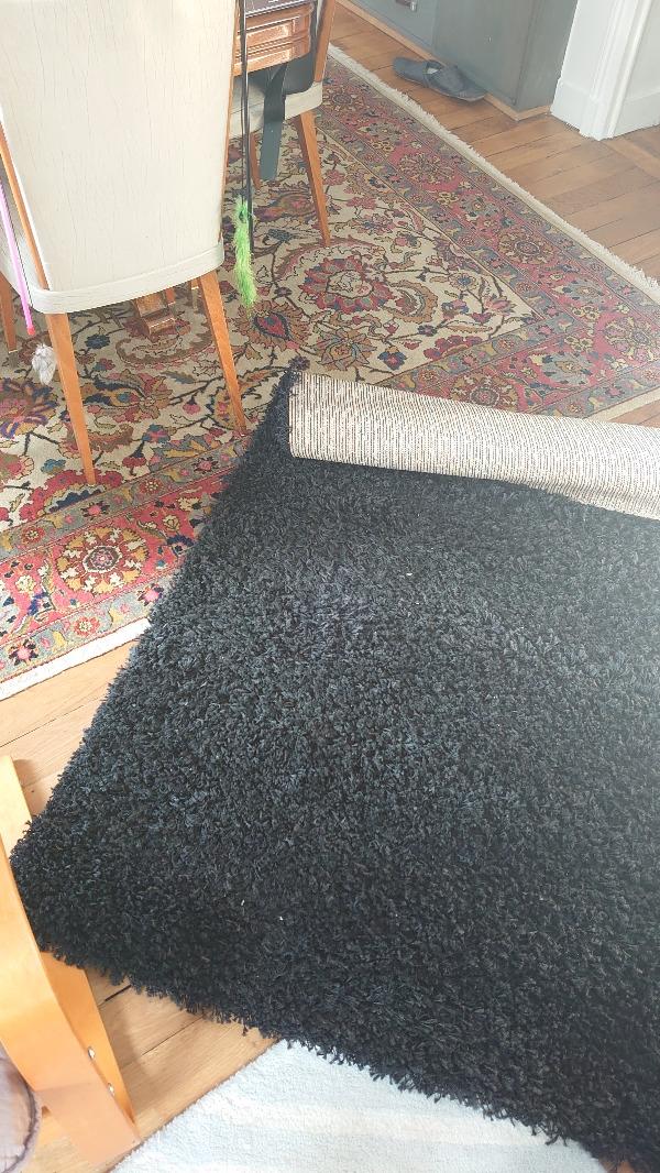 Recyclage, Récupe & Don d'objet : Tapis noir à poils hauts 120x170